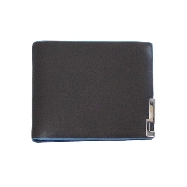 Mens Slim Blue Edge Bi-Fold Wallet