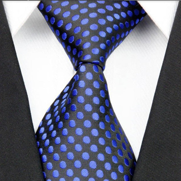 Mens Black With Blue Polka Dot Necktie, Wide Width - Gifts Are Blue - 1