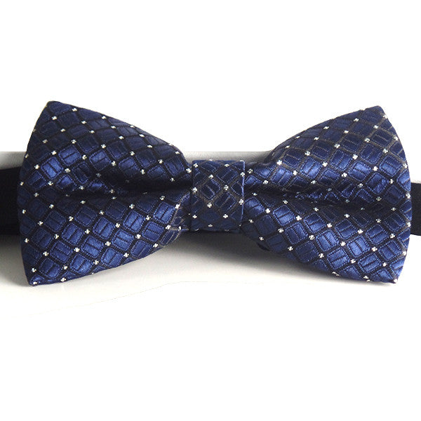 Mens Blue and Silver Formal Pre-Tied Bow Tie - Gifts Are Blue - 2