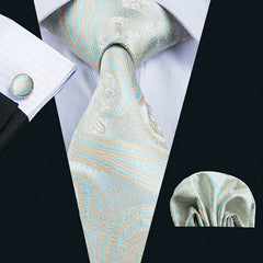 Mens Fashion Gift Set with NeckTie, Square, Cufflinks and Clip in Gift Box