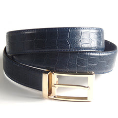 Mens Luxury Leather Belt with Crocodile Lines Design - Gifts Are Blue - 4