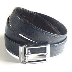 Mens Luxury Leather Belt with Crocodile Lines Design - Gifts Are Blue - 3