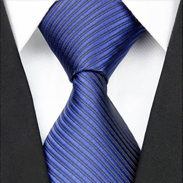 Mens Blue On Blue Striped Necktie, Wide Width