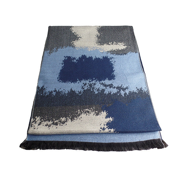 Mens Elegant Fashion Winter Scarves - Gifts Are Blue - 6, Blue Patch