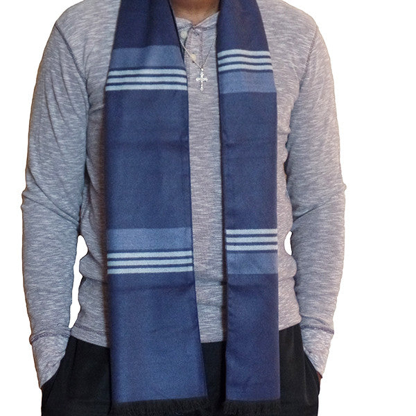 Mens Elegant Fashion Winter Scarves - Gifts Are Blue - 5, Blue Stripes
