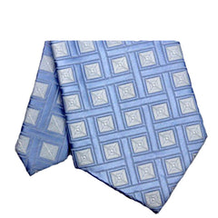 Mens Sky Blue Classic Plaid Tie, 4 Inches Wide Width - Gifts Are Blue - 2