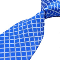 Mens Royal Blue Classic Plaid Tie, 4 Inches Wide Width - Gifts Are Blue - 2