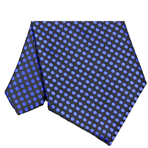 Mens Black With Blue Polka Dot Necktie, Wide Width - Gifts Are Blue - 2