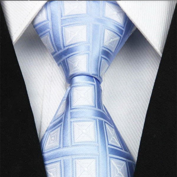 Mens Sky Blue Classic Plaid Tie, 4 Inches Wide Width - Gifts Are Blue - 1