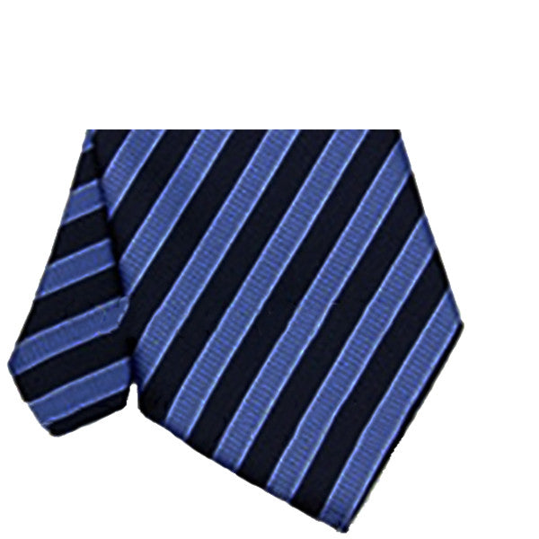 Mens Dark Blue with Light Blue Striped Necktie, Wide Width - Gifts Are Blue - 2