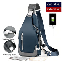 Mens Compact Oxford Waterproof Crossbody Messenger Bag with USB Charging, Channels, all SKUs