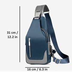 Mens Compact Oxford Waterproof Crossbody Messenger Bag with USB Charging, Measurements, all SKUs