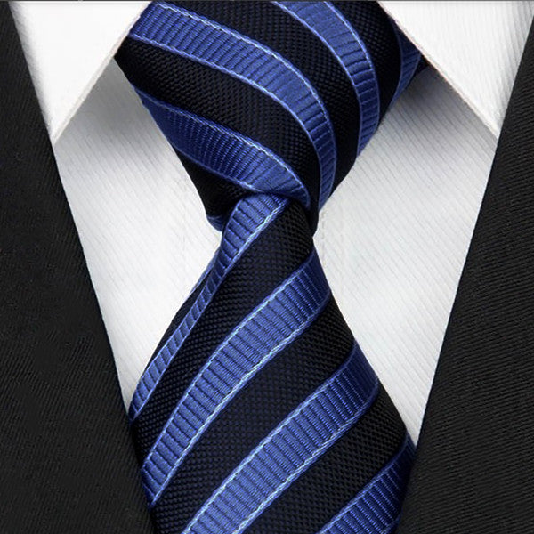 Mens Dark Blue with Light Blue Striped Necktie, Wide Width - Gifts Are Blue - 1