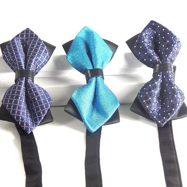 Blue Pre-Tied Diamond Point Formal Bow Ties