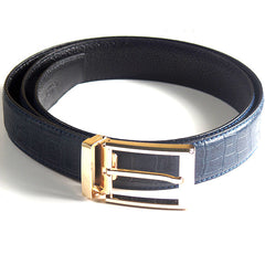 Mens Luxury Leather Belt with Crocodile Lines Design - Gifts Are Blue - 2