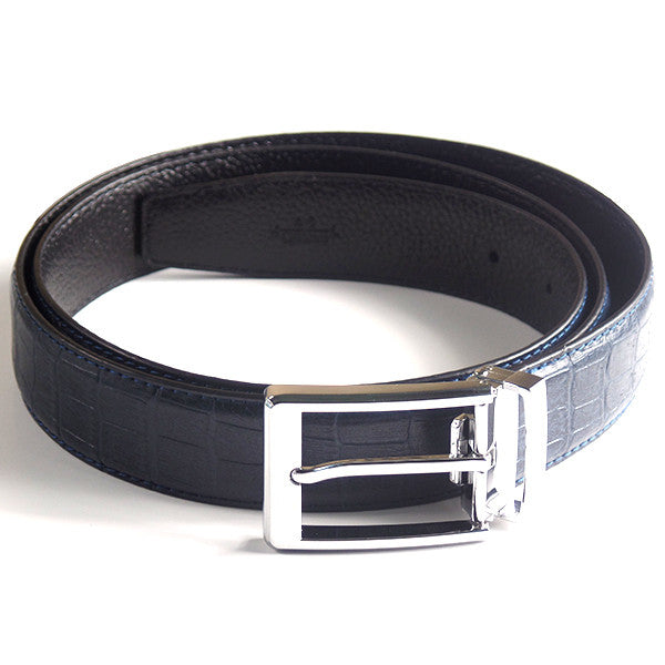 Mens Luxury Leather Belt with Crocodile Lines Design - Gifts Are Blue - 1