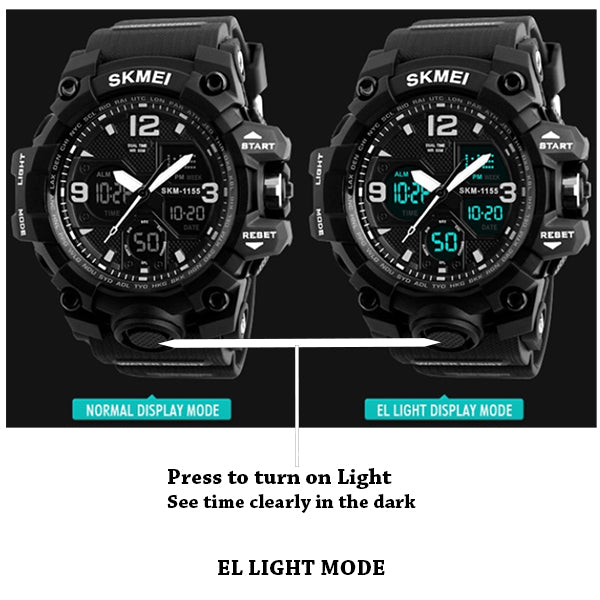 SKMEI Mens Military Waterproof Dual Display Watch with Gift Box