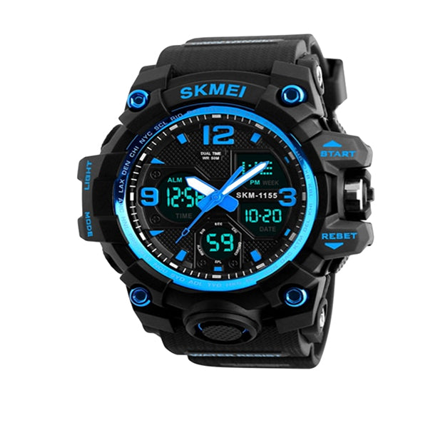 SKMEI Mens Military Waterproof Dual Display Watch with Gift Box, Main, Blue