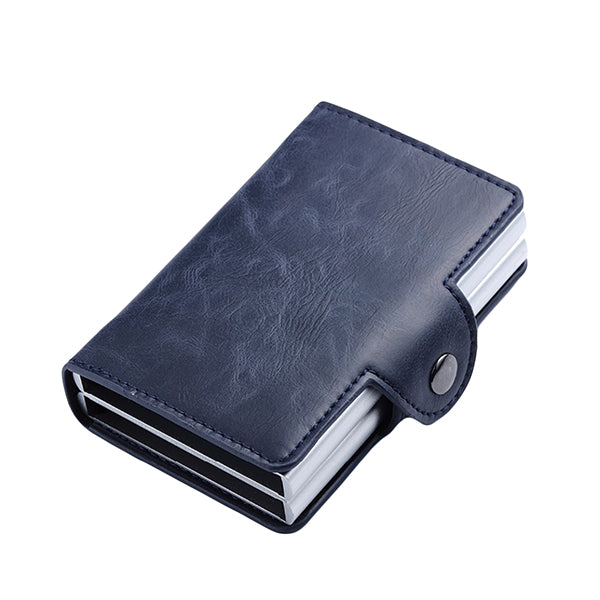 Leather RFID Wallet with Double Aluminum Card Holder for Men and Women