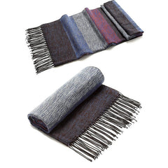 Mens Pashmina Blue Striped Winter Scarf - Gifts Are Blue - 1