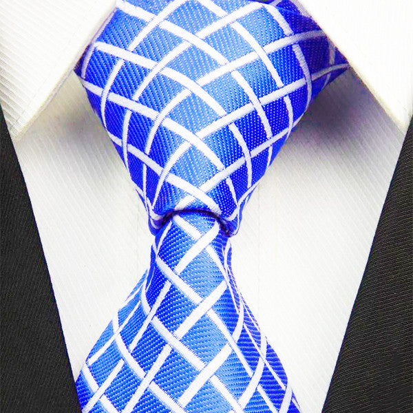 Mens Royal Blue Classic Plaid Tie, 4 Inches Wide Width - Gifts Are Blue - 1