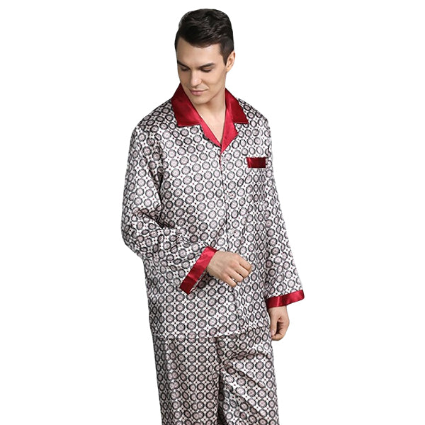 Elegant Mens Print Pajamas, Two Piece Set, Satin Sleepwear, Model, Beige