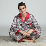 Elegant Mens Print Pajamas, Two Piece Set, Satin Sleepwear, Lifestyle, Beige