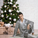 Elegant Mens Print Pajamas, Two Piece Set, Satin Sleepwear, Christmas, Light Gray