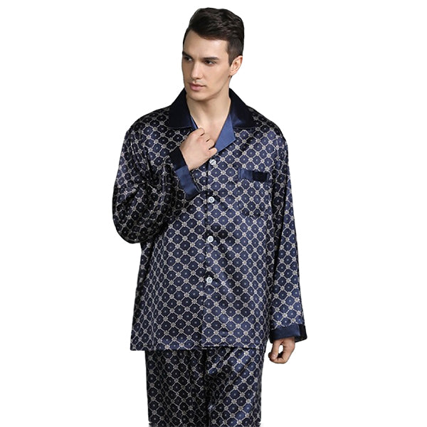 Elegant Mens Print Pajamas, Two Piece Set, Satin Sleepwear, Model, Navy Blue