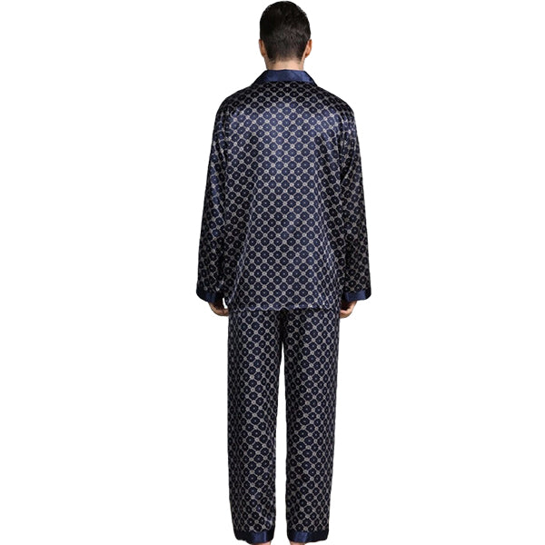 Elegant Mens Print Pajamas, Two Piece Set, Satin Sleepwear, Backview, Navy Blue
