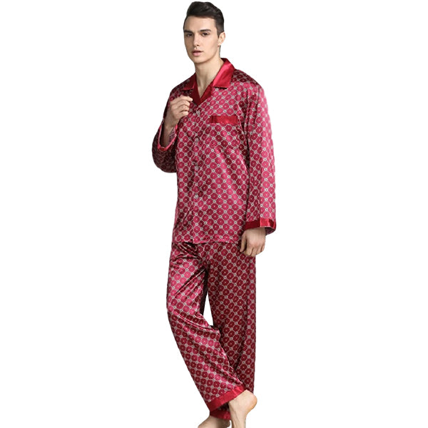 Elegant Mens Print Pajamas, Two Piece Set, Satin Sleepwear, Model Alt, Red