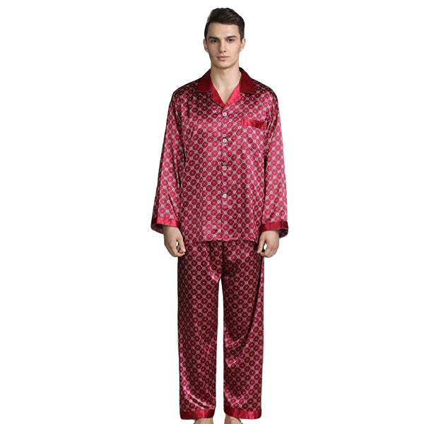 Elegant Mens Print Pajamas, Two Piece Set, Satin Sleepwear, Main, Red