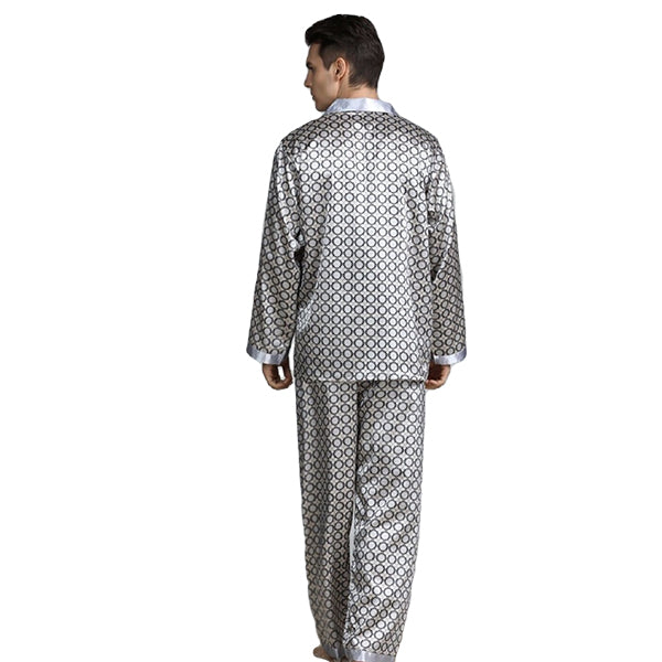 Elegant Mens Print Pajamas, Two Piece Set, Satin Sleepwear, Backview, Light Gray