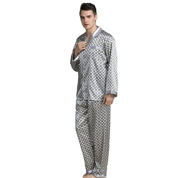 Elegant Mens Print Pajamas, Two Piece Set, Satin Sleepwear, Model, LightGray
