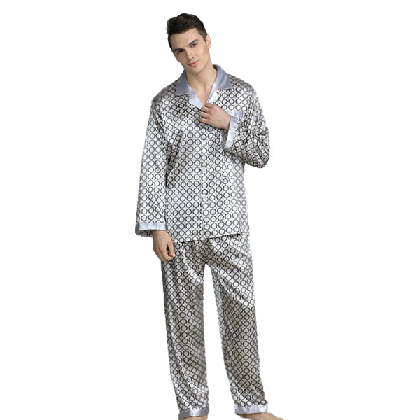 Elegant Mens Print Pajamas, Two Piece Set, Satin Sleepwear, Main, Light Gray