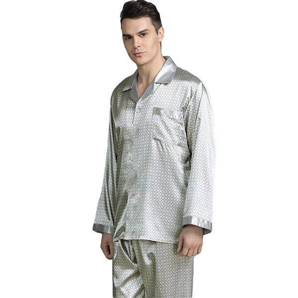 Elegant Mens Print Pajamas, Two Piece Set, Satin Sleepwear, Model, Silver