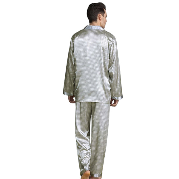 Elegant Mens Print Pajamas, Two Piece Set, Satin Sleepwear, Backview, Silver