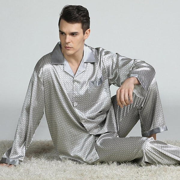 Elegant Mens Print Pajamas, Two Piece Set, Satin Sleepwear, Lifestyle, Silver