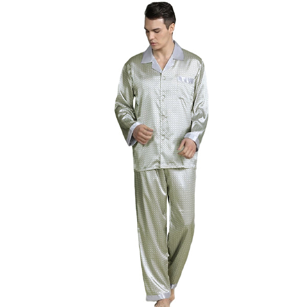 Elegant Mens Print Pajamas, Two Piece Set, Satin Sleepwear, Main, Silver