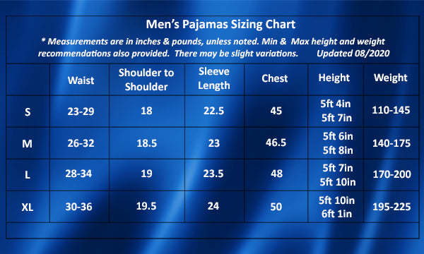 Mens Satin Pajamas Sleepwear, Size Chart Guide, all SKUs