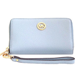 Michael Kors Fulton Large Flat Multi Function Leather Phone Case Pale Blue - Gifts Are Blue - 1
