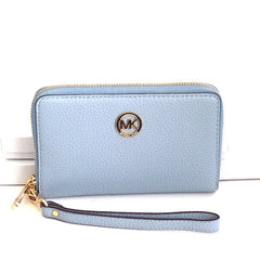 Michael Kors Fulton Large Flat Multi Function Leather Phone Case Pale Blue - Gifts Are Blue - 5