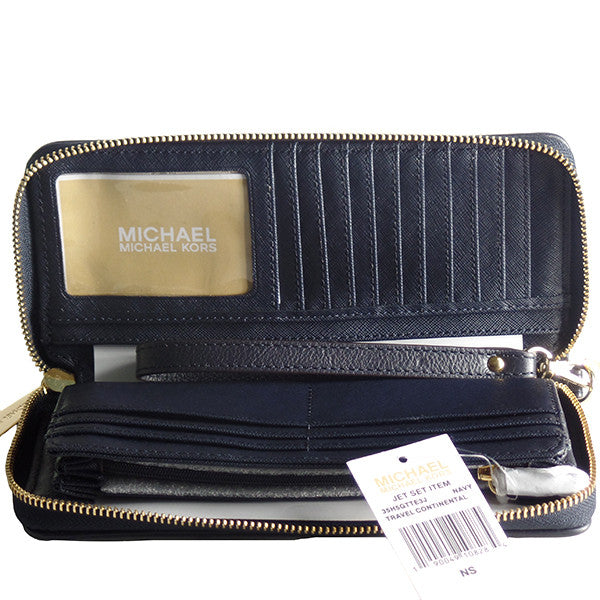 3887aab0d203 ... Michael Kors Jet Set Travel Continental Wristlet Wallet - Gifts Are  Blue - 4 ...