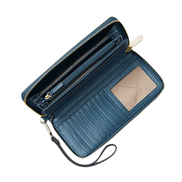 Leather Continental Wristlet, MICHAEL Michael Kors, 32S5GTVE9l, Inside, Blue, Large