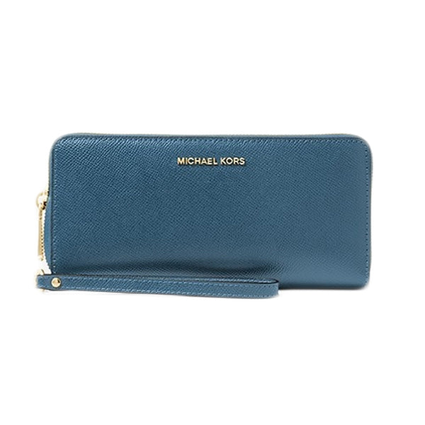 Leather Continental Wristlet, MICHAEL Michael Kors, 32S5GTVE9l, Main, Blue, Large