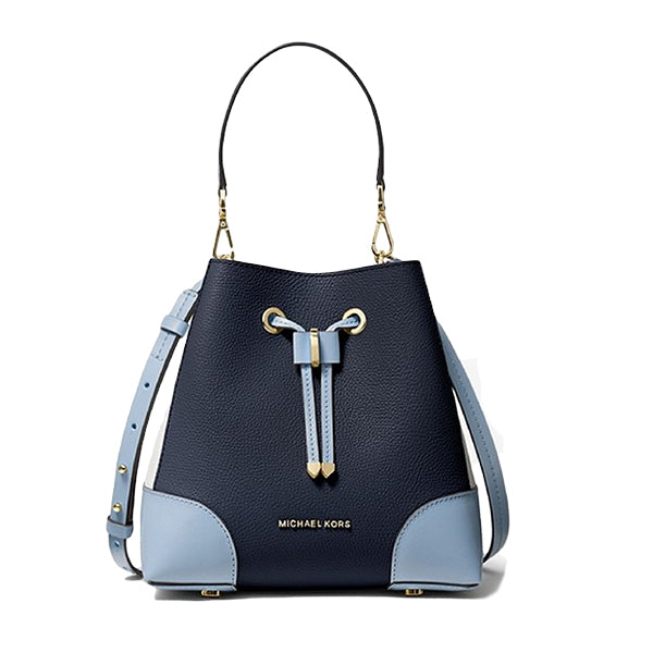 Mercer Gallery Small Two-Tone Leather Shoulder Bag, Michael Kors, 30T0GZ5L5L, Main, Blue