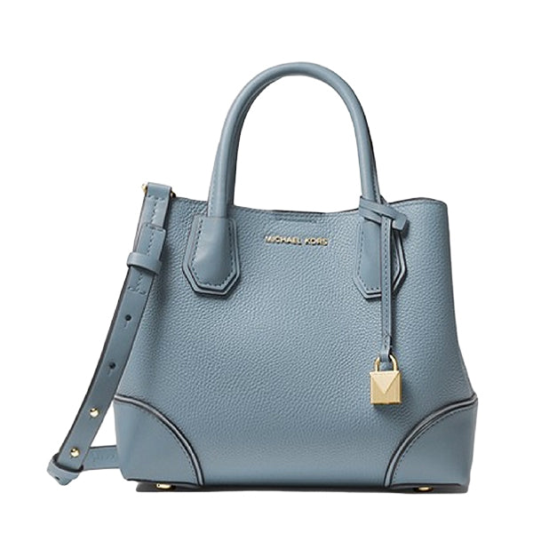Mercer Gallery Small Pebbled Leather Satchel by MICHAEL Michael Kors, 30H7GZ5T1T, Main, Pale Blue