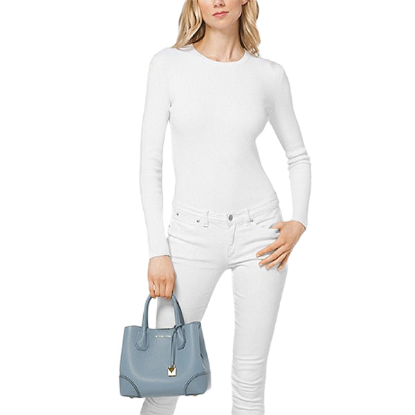 Mercer Gallery Small Pebbled Leather Satchel by MICHAEL Michael Kors, 30H7GZ5T1T, Model, Pale Blue
