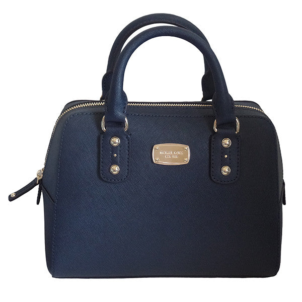 Michael Kors Small Satchel Saffiano Navy Leather Handbag - Gifts Are Blue - 1