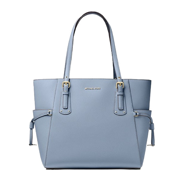 Voyager Small Crossgrain Leather Tote Bag, MICHAEL Michael Kors, 30H7GV6T9L, Main, Pale Blue